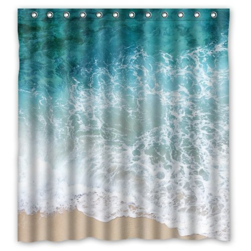 Sea Water Shower Curtain Beach Shore Wave Theme Design 100 Polyester Bathroom Rings