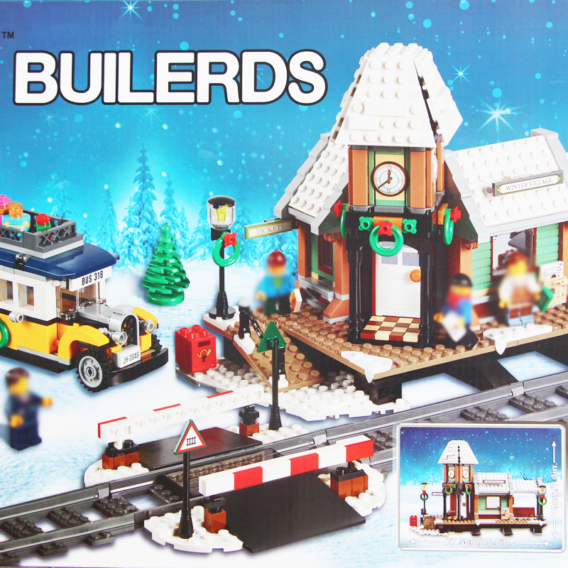Building bricks 36011 TRAIN STATION Christmas BUILERDS 1010pcs Building Blocks Toys for Children 10259 ...