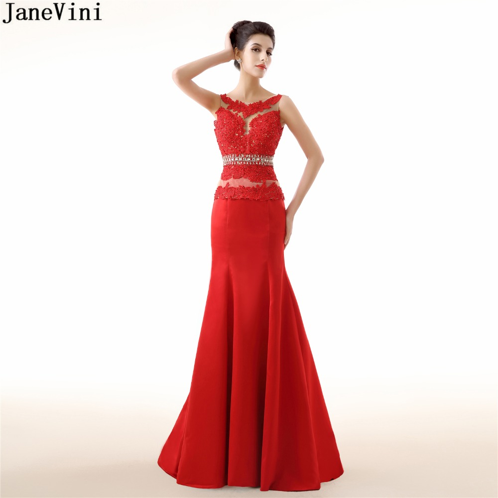 JaneVini Red Satin Mermaid African Long   Bridesmaid     Dresses   Appliques Beading Backless Black Girls Formal Party   Dress   Prom Wear