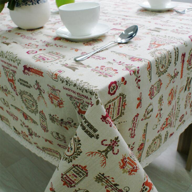 Christmas Table Cloth Cotton Linen Lace Edge Cartoon Printed Tablecloth  Rectangular Home Party Festival Decorative Table