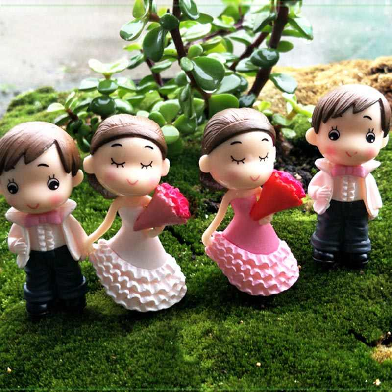 2PCS Cake Doll Bride and Groom Wedding Doll Figurines Miniatures Cake Topper Couple Romantic Wedding Decoration