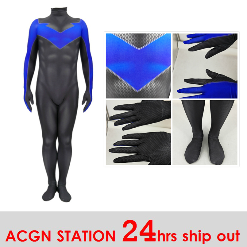 Adult costumes Nightwing Costume for Kid and Men Nightwing Cosplay Costume 3D Print Full Set Halloween Party Bodysuits Jumpsuits