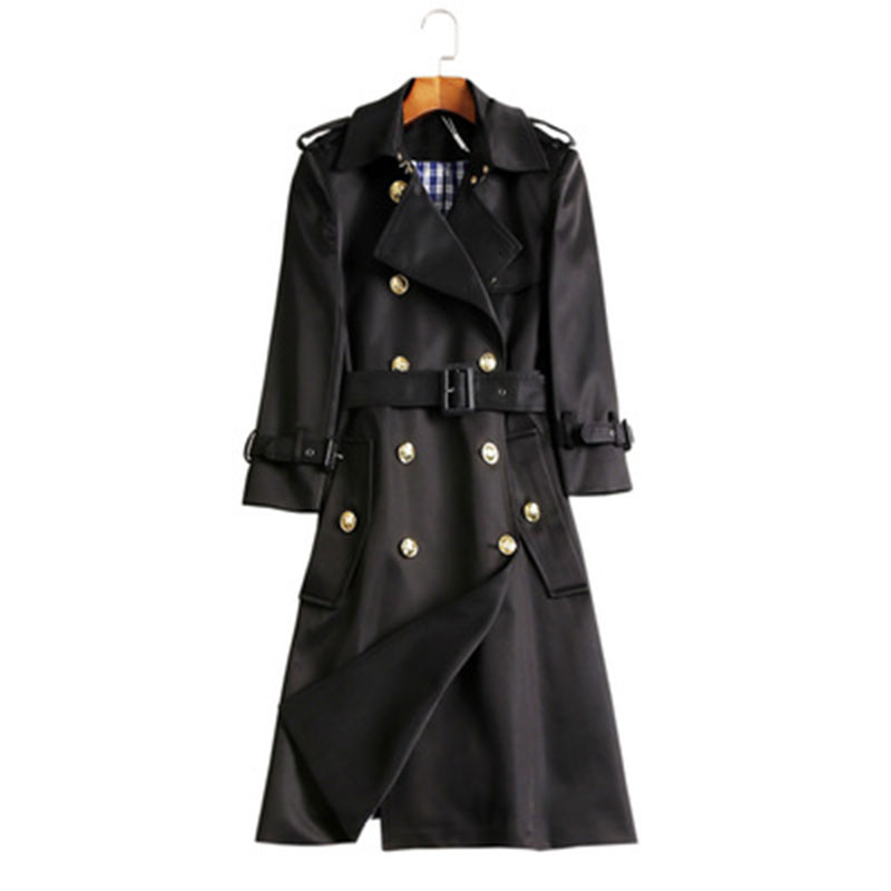 Printemps Longues Longue Pour Tranchée Militaire Manteaux Manteau Automne Femmes Femme De Mode Noir Vintage Chute Luxe qwRnx1g0