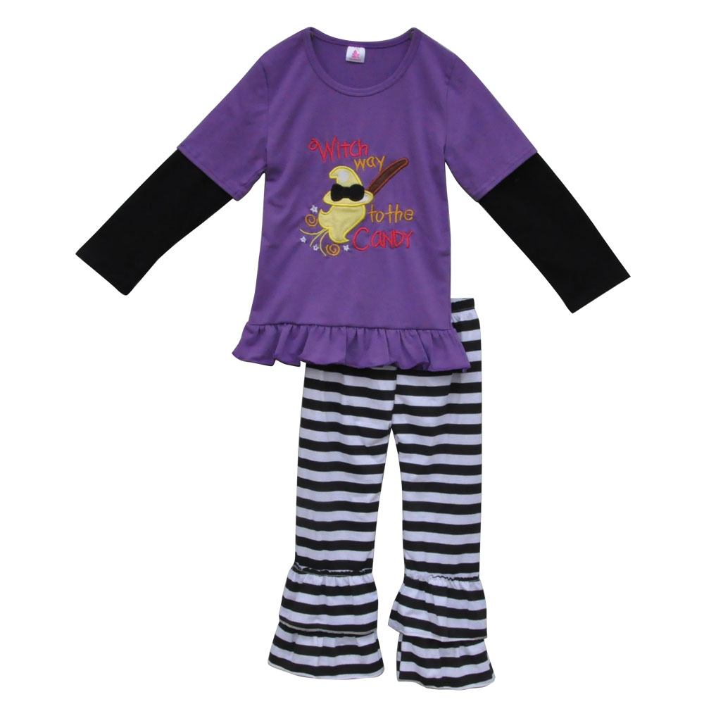 new design halloween witch costume suppliers wholesale baby cotton persnickety outfit candy top stripe ruffle pants sets h019