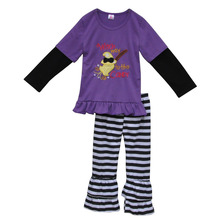 New Design Halloween Witch Costume Suppliers Wholesale Baby Cotton Persnickety Outfit Candy Top Stripe Ruffler Pants CTZ-128