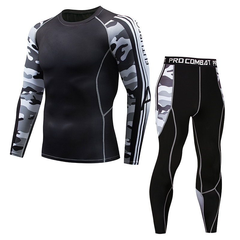 2018 Winter Sunscreen MMA Clothing Thermal Underwear Men's Fitness Clothing Men's Compression Clothing 3D Printing Set