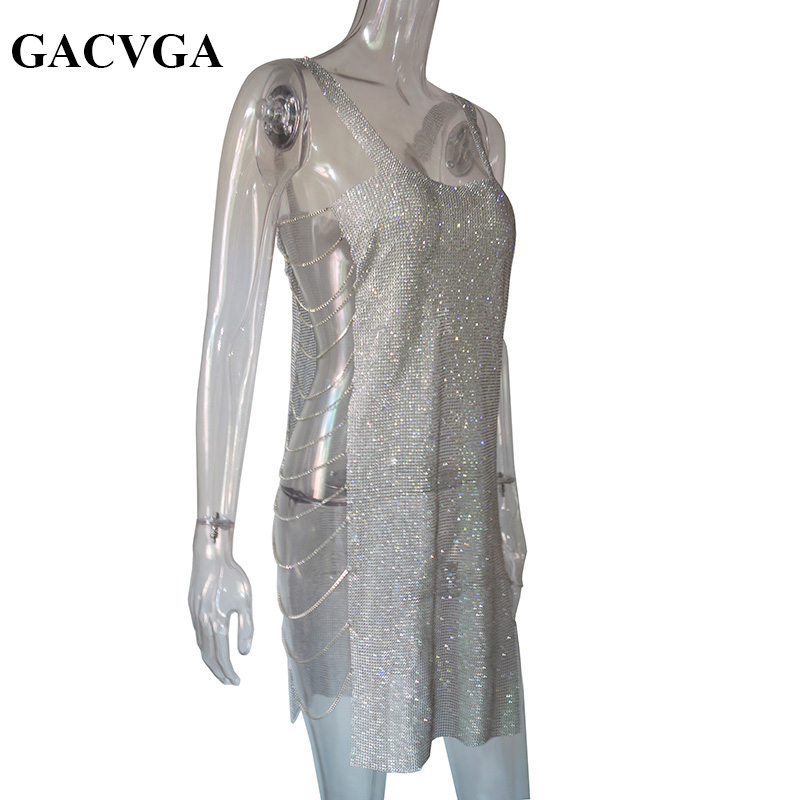 GACVGA 2018 Shineing Crystal Summer Dress Women Sexy Party Dresses Elegant Bodycon Mini Dress Vestidos bonu sexy bodycon sweater dress simple elegant dress female winter knitted flare sleeve split dresses for women vestidos