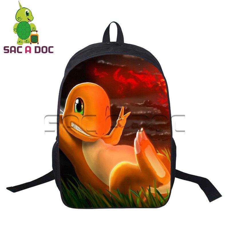 Teens Backpack Pokemon Charmander Pikachu Printing School Bags Casual Laptop Backpacks Women Men Mochila