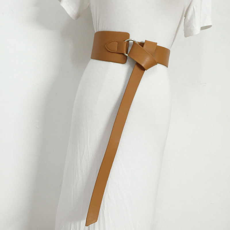 2019 New Causal Solid Color Black PU Leather Knot Bandage Loose Long Irregular Belt Women Fashion Tide All-match Straps