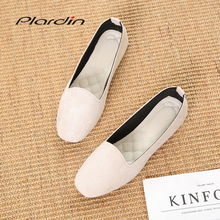 Plardin 2019 Fashion Flock Women's Flats For New Summer Slip-On Round Toe Casual Flat Shoes