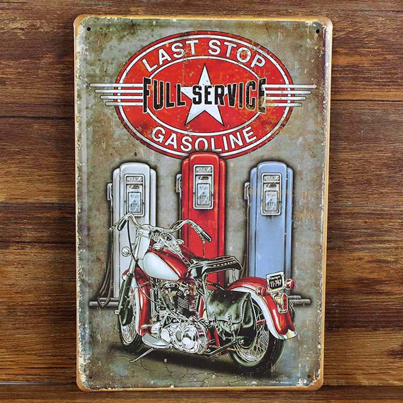 20 30cm poster home decor motorcycle wall decals art metal for Plaque deco cuisine retro
