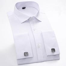 Для мужчин французский запонки рубашка Новинка 2017 года Для мужчин Мужская рубашка с длинным рукавом Повседневное мужские брендовые Рубашки для мальчиков Slim Fit манжетой Сорочки выходные для мужчин для для мужчин