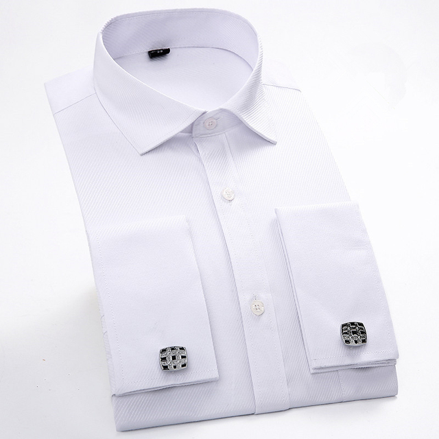 Men French Cufflinks Shirt 2017 New Men's Shirt Long Sleeve Casual Male Brand Shirts Slim Fit French Cuff Dress Shirts For Men