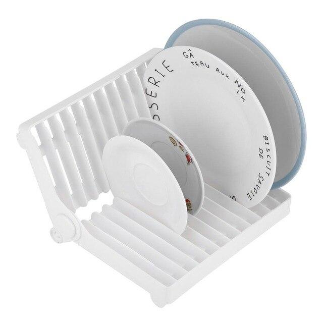 Plegable placa plato de secado Rack organizador escurridor cubiertos  fregadero esponja titular de cocina de plástico b58efd7d69e8