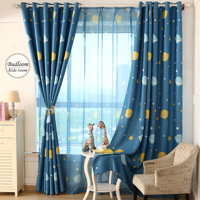 Cartoon Blue Planet Star Curtains For Kids Room Lovely Printed Curtains For  Boys Bedroom Baby Room