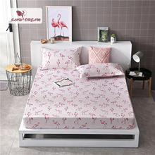 Slowdream 1PCS Flamingos Cartoon Bed Fitted Sheet Mattress Cover Bed Sheet On Elastic Band Rubber Sheet Double Adult Bed Linen недорого