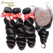 Peruvian Hair Weave Bundles With Closure 4x4 Silk Base Closure With Bundles 100 Human Hair With