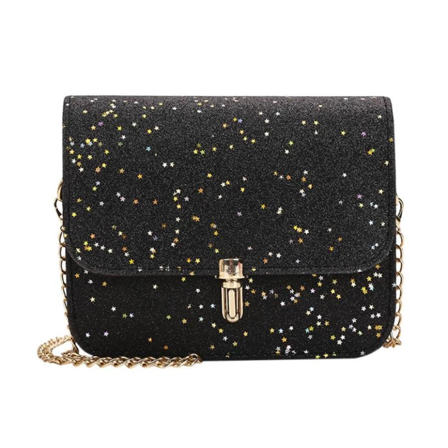 Chain Shoulder Bag Ladies Bags Luxury Crossbody Women Messenger Bags  Leather Female Handbags Sequins Beautiful Handbag 04128a46a6e0a