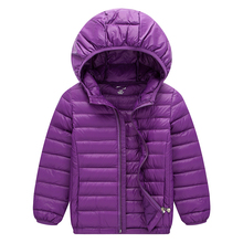Sping children s light duck down coats jacket pure color with hoodie kid s outerwear baby