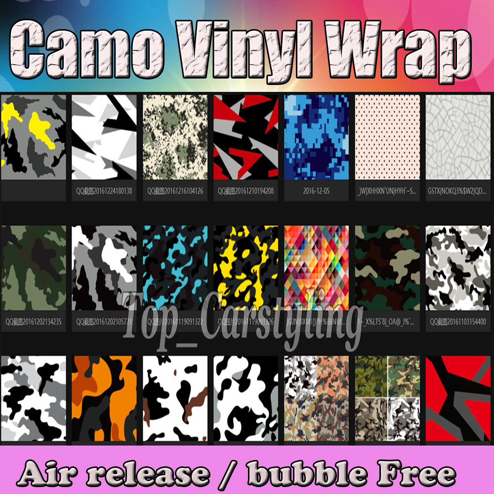 2017 VARIOUS Colors Camouflage Vinyl For Car  Wrap covering styling Air Bubble Free PIXEL ARCTIC UBRAN  1.52x30m /roll 5x98ft
