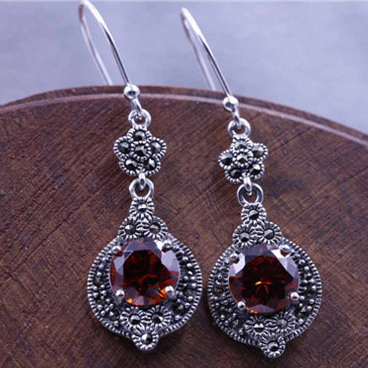 Sterling Silver Earrings Silver With Red Corundum Original Ms Silver Earrings
