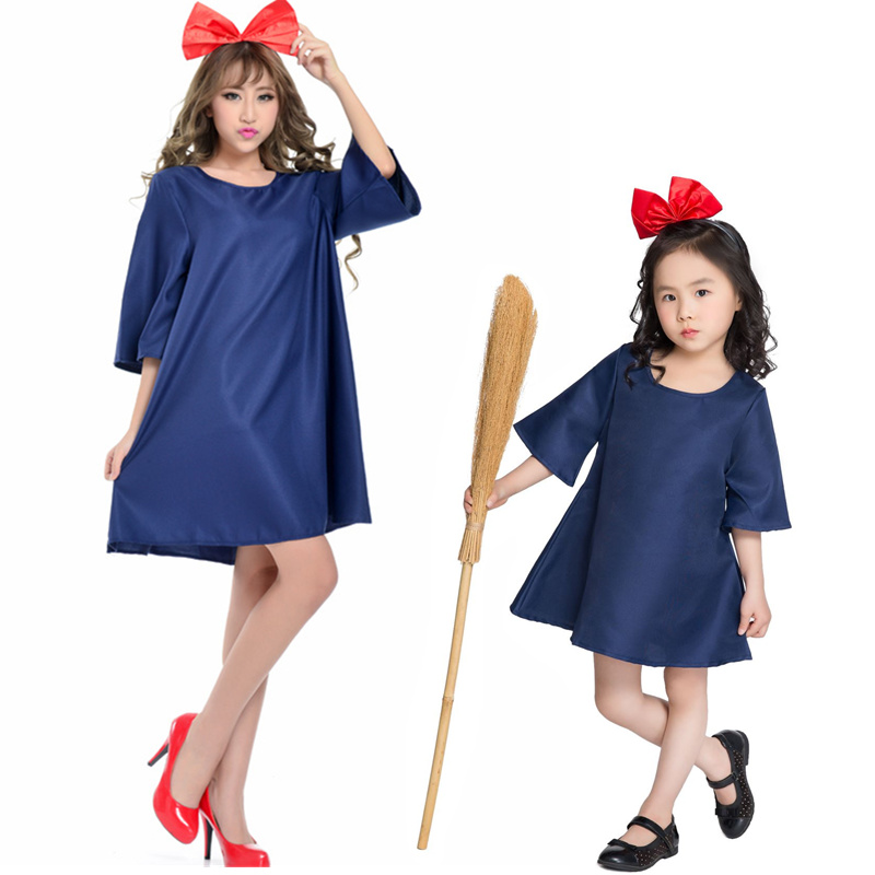 Family Matching Outfits Mother Daughter Family Matching Summer Loose Cotton Dress Halloween Adult Kids Witch Cosplay Costume