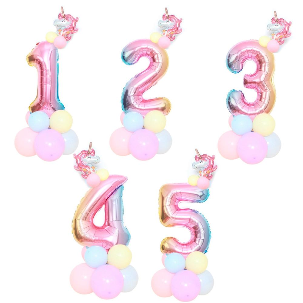 Image 3 - Macaron Figure Birthday Balloons Unicorn Party Decor Unicorn Foil Ballon Number Baloon 1st Birthday Party Decor Kids Baby Shower-in Ballons & Accessories from Home & Garden