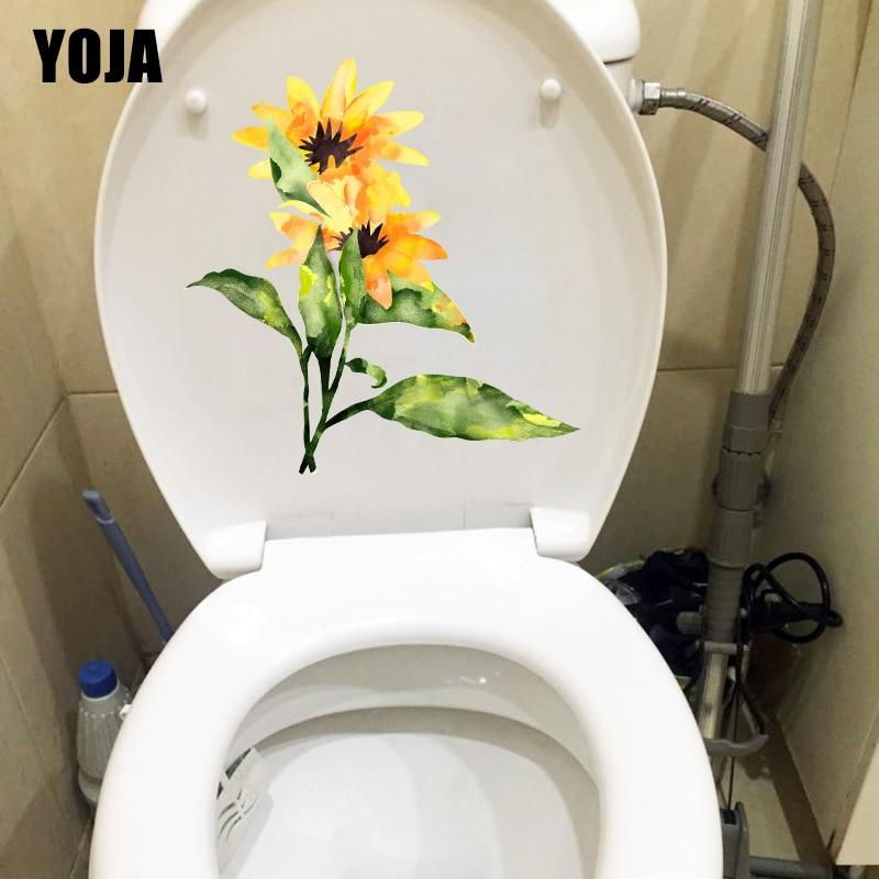 YOJA 19,5*20,6 см ручная роспись желтые цветы наклейки для туалета домашний Декор стены T1-0811