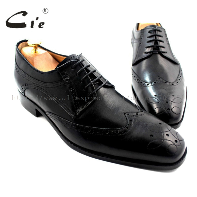 cie Free shipping adhesive craft bespoke handmade pure genuine calf leather outsole men's dress/classic derby black shoe No.D46 cie free shipping w tips bespoke handmade pure genuine calf leather men s single monk straps deep wine navy matching no ms33