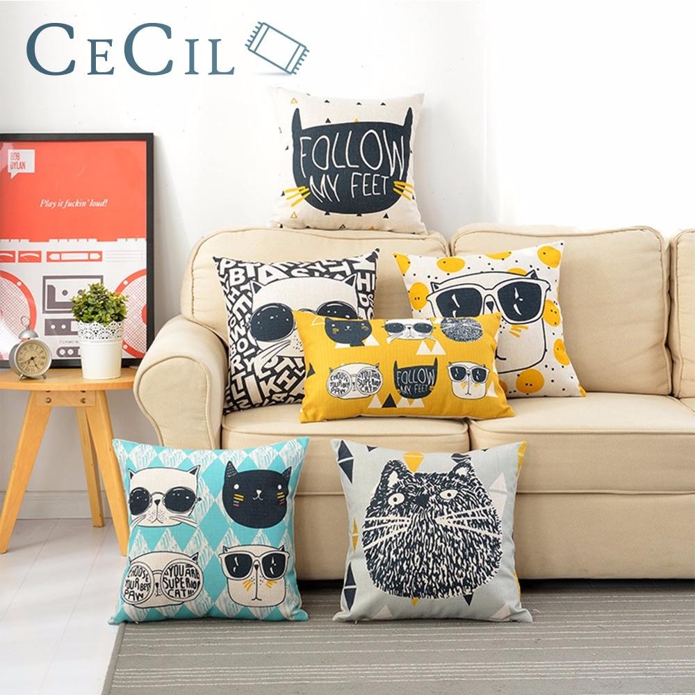 ᗐNórdico gato encantador creativo almohada lindo dibujos animados