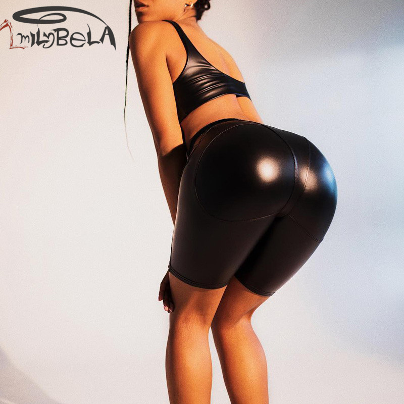 Imily Bela PU Leather Black Shorts High Waist Skinny Tight Knee Bike Sexy Gothic Bodybuilding Club Legins