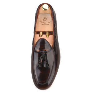 Image 3 - Piergitar 2019 dark brown hand polished calfskin BELGIAN LOAFERS with matching tassels ITALY designs handcrafted mens loafers