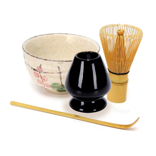 Tea Service Bamboo Natural Matcha Green Tea Powder Whisk Scoop Ceramic Bowl Set Japanese Teaware Ceremony
