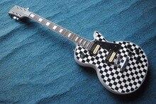Custom Shop Lp standard e-gitarre mit weißen und schwarzen punkten wassertransfer