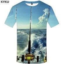 KYKU 3d Fish Shirt Men Hip Hop T Punk Rock Man T-shirt Tracksuits Fisherman Wave Printed Tshirt Casual Mens Clothing Style