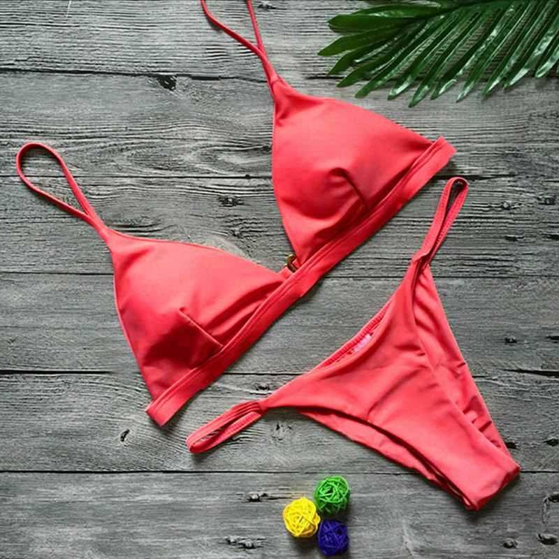 7e1e89fe72385 ... Vertvie 2019 Для женщин пикантные бразильские стринги бикини набор микро  купальники с низкой талией пляжный купальник