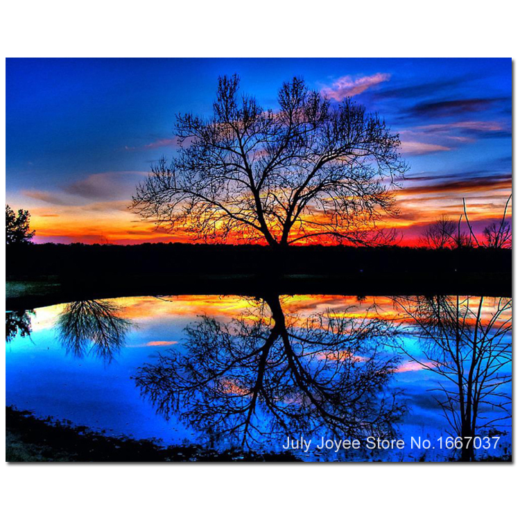 Dreamlike Inverted Reflection Of Trees In Water And Sunset Glow DIY Diamond Scenery Painting Picture Rhinestones Handicrafts Cross