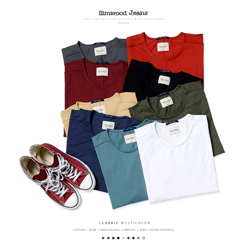 SIMWOOD brand clothing 2017 new arrival Spring long sleeve t shirt men causal fashion young 100