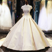 JULIA KUI High Collar A-Line Wedding Dress Floor Length