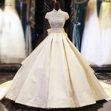 JULIA KUI High Collar A-Line Wedding Dress Floor Length