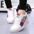 Nuevo 2016 Del Otoño Del Resorte Botines de Tacones Para Mujer Sport Casual Altura Aumento de Zapatos de Las Cuñas de Alta Superior Zapatos de Las Mujeres Zapatos de Moda