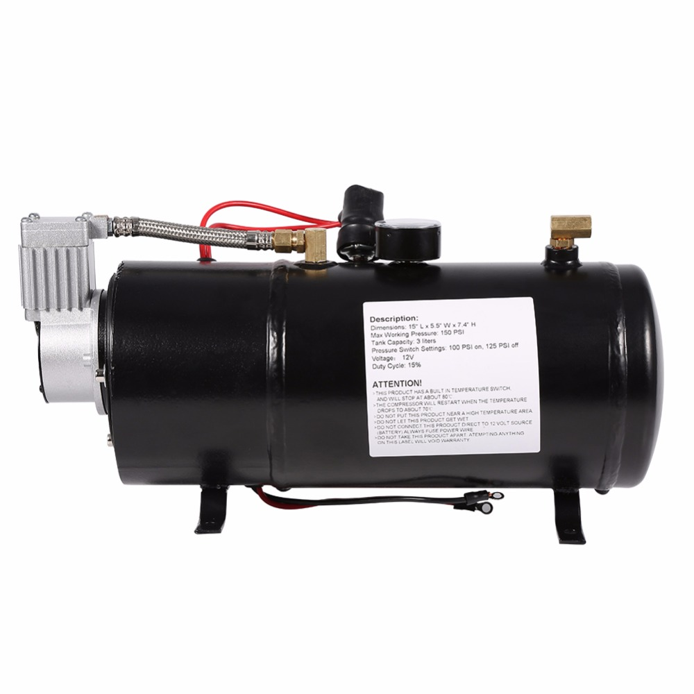 12V Air Compressor Vehicile Tire Inflator For Truck Pickup On Board With 3 Liter Tank Air