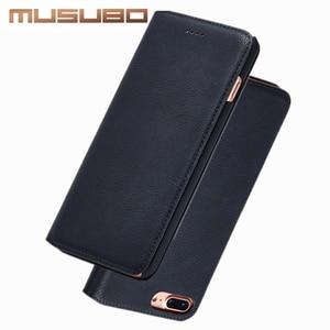 Image 2 - Musubo Ultra Slim Phone Case for iPhone X 7 Plus Genuine Leather Luxury Cases Cover for iPhone 8 6 Plus 6s S9 Plus S8 Flip capa