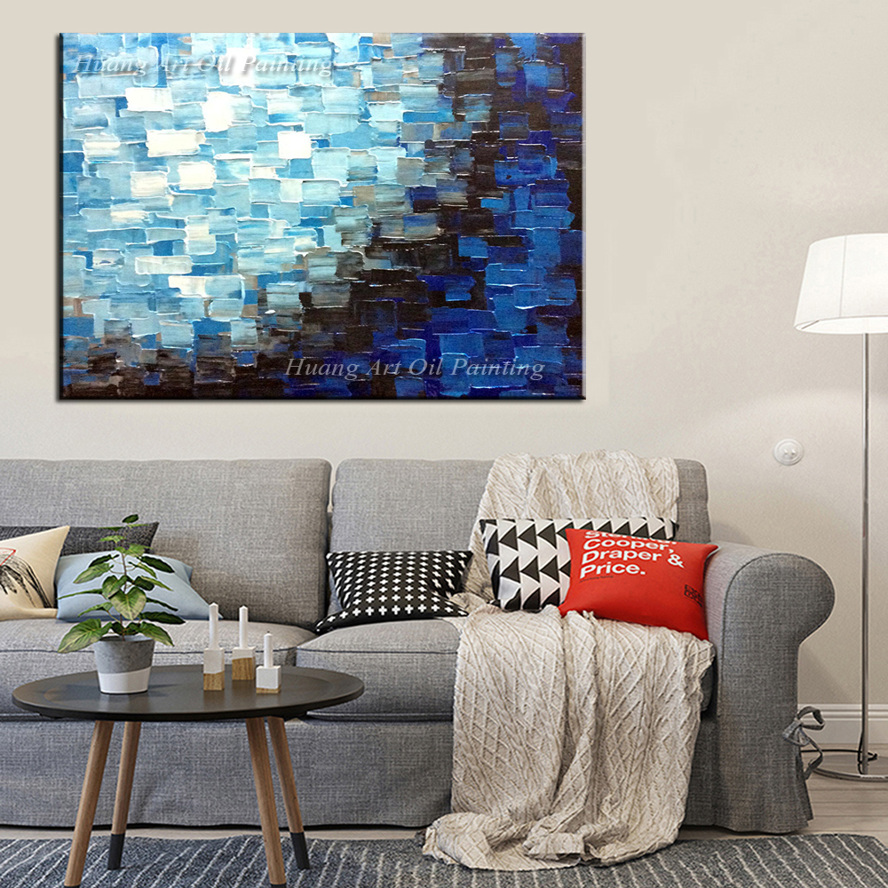 Manufacturer Hand Painted Blue font b Knife b font Abstract Plaid oil painting Art Handmade Picture