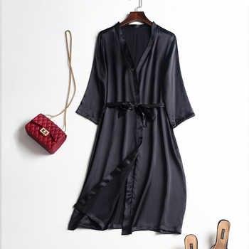 Silk 100 Real Pure Mulberry Women Robes Silk Satin Knee length robe nightwear sleepwear pijamas bornoz robe nightgown Kimono