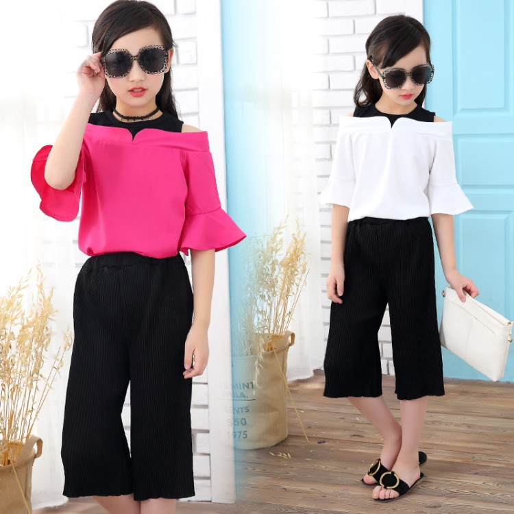 5-13T Children Clothing Sets For Girls Off Shoulder T-Shirts & Pants 2Pcs For Girls Fashion Wide pant Princess Suit Kids Outfits fashion baby kids girls clothes sets off shoulder tops t shirts denim pants hole jeans 3pcs outfits set clothing