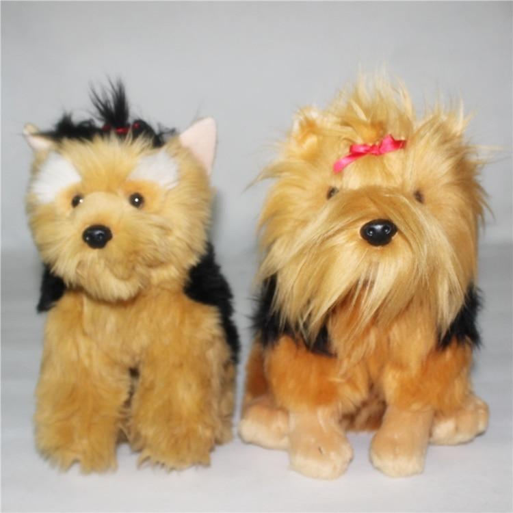 ФОТО Simulation Yorkshire Terrier Dog Plush Doll Toy Cute Christmas Children Gift Schnauzeri  Dolls
