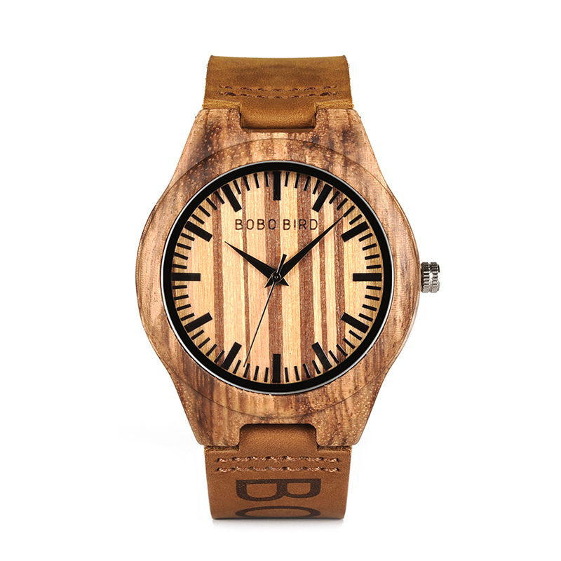 BOBO BIRD O30 Mens Bamboo Wooden Quartz Watches for male Wristwatch With Leather Band in Box relogio masculino bobo bird 2017 mens watches brand luxury quartz wooden wristwatch leather strap male bamboo watch relogio masculino