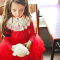 2017 Autumn Winter Girls Princess Dress Baby Clothes Children Clothing Wedding Party Costume Red&Beige Kids Girls Dresses CE387