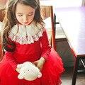 2017 Otoño Invierno Las Niñas Vestido de la Princesa Del Bebé Ropa de Niños Ropa de Niños Vestidos de Las Muchachas Del Banquete de Boda Del Traje Rojo y Beige CE387